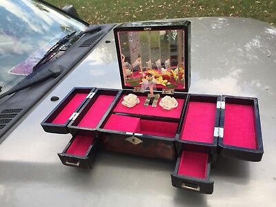 Vintage Asian Black and Red Laquer Musical Spinning Ballerina Jewelry Box