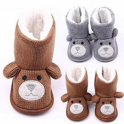 Newborn Baby Boys Girls Winter Warm Booties Slippers Antiskid Snow Boots Shoes