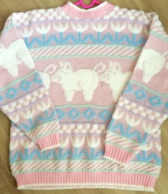 Vintage Sparkly Pastel Pink Pig Sweater rare kawaii 80s 90s EUC by Rose