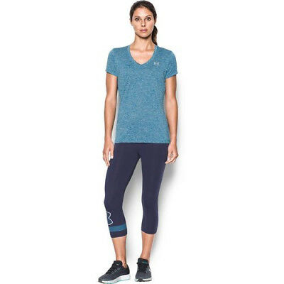 Under Armour Womens V Neck Loose Fitting Heat Gear T-Shirt  Blue Medium NWT
