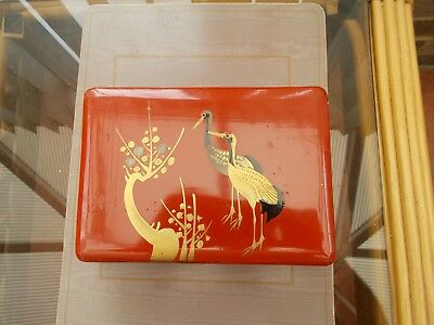 "Vintage Japanese Red Lacquer Papermache Lockable Jewellery Box With Key 7"" By 5"""