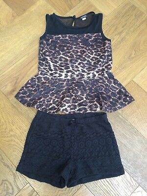 River Island Leopard Top & Lace Shorts Outfit Age 9-10 Year
