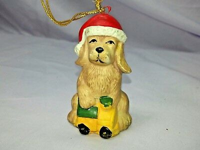 Hand Painted Ceramic Golden Retriever Dog Christmas Ornament with Train