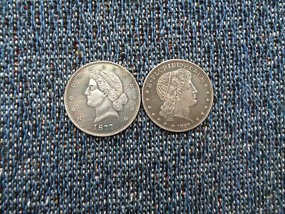 US Two 1877 And 1882 Pattern Half Dollar Copy Coins Fantasy Issue!