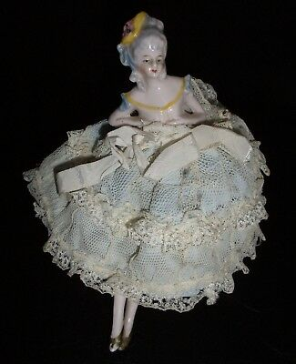 Rare Antique Flapper Lady Pin Cushion Half Doll w/ Legs in Large Lace Dress