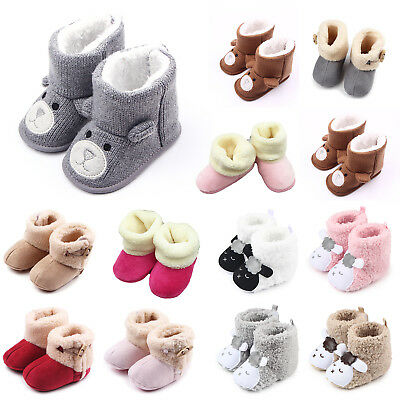 Newborn Baby Boys Girls Soft Crib Prewalker Winter Warm Snow Boots Crib Shoes