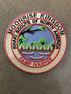 """Moonrise Kingdom Iron on Khaki Scout Patch Wes Anderson - new. 3.25"""" Round"""