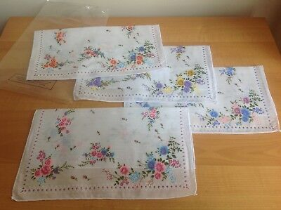Pack Of 4 Pretty Floral Ladies Handkerchiefs Brand New