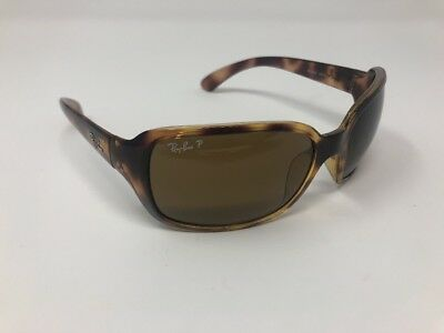 Ray-Ban RB 4068 642/57 Women's Polarized Tortoise Wrap Sunglasses Q673