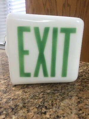 Vintage Original Milk Glass Exit Globe RARE Green Letters Triangle Wall Mount