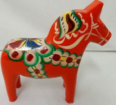 "Vintage 10"" NILS OLSSON Swedish AKTA DALA HORSE Natural Hand Painted Wooden...."