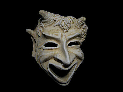 Greek Style White Terracotta Satyr Theater Mask, Replica!!!