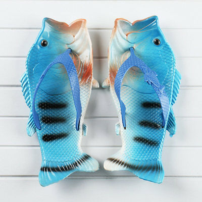 5b1f250ca Creative Unisex Fish Shower Slippers Funny Beach Shoes Sandals Bling Flip  Flops