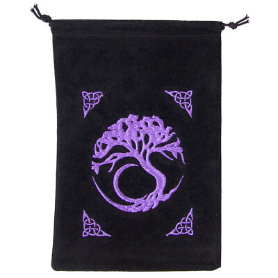 "NEW Embroidered Tree of Life Velveteen Tarot Bag 5x7"" Celtic Pagan Velvet Pouch"