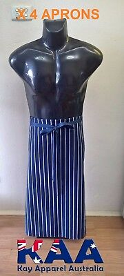 4 X Butchers Apron Waist Navy White Vertical Pinstripe, Smoking, American BBQ