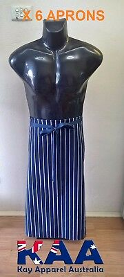 6 X Butchers Apron Waist Navy White Vertical Pinstripe, Smoking, American BBQ