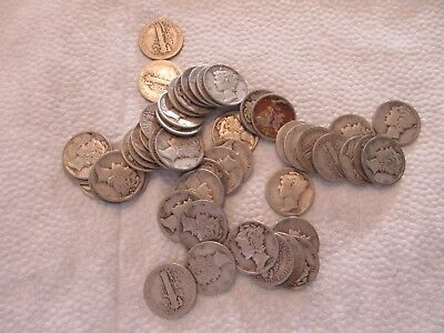 Lot #7C, Roll Of 50 Mercury Dimes, Various Dates/mintmarks, 90% Silver!!