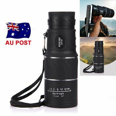 Monocular 16x52 Zoom Optical Lens Telescope+Clip For Mobile Phone Outdoor AU