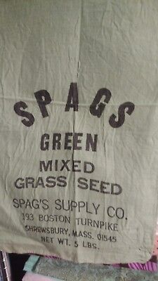 Vintage Spags Green Mixed Grass Seed/feed Sack Shrewsbury Mass Store