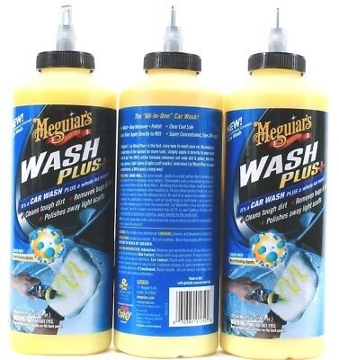 3 Meguiars Wash Plus It's a Car Wash And A Whole Lot More Dirt Bugs Scuffs 24 oz