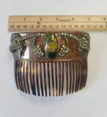 Oversized Vintage Rhinestone & Bead Faux Tortoise Shell Hair Comb / Accessory