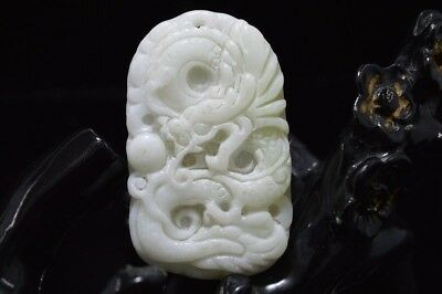 Collect Chinese natural old whitem Jade Carved Amulet Pendant Dragon 46