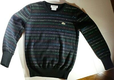 LACOSTE Kids Striped Wool Sweater-Black With Multicolored Metallic Stripes (12)