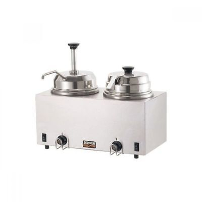 Server Products #81290 Twin Topping Warmer W/pump & Lid+Ladle