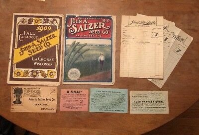 Vintage 1909 & 1910 John Salzer Seed Fall Catalogue Lot Ads Envelope And More