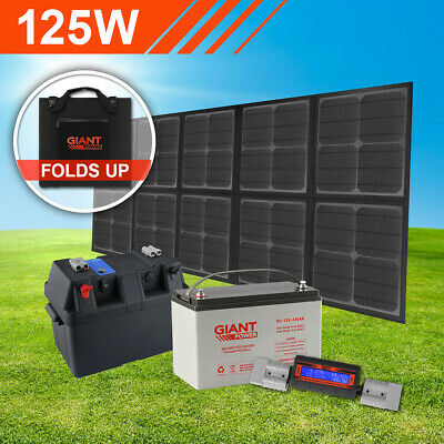 125w Complete Folding Solar Panel Mat Kit with Battery (Camping Solar Blanket)