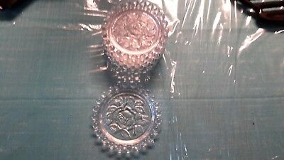 6 Vintage Glass Coasters With Candlewick Edge- Rose in Center -Made in German De