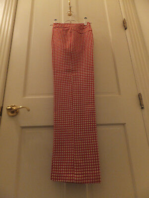 Women's Vintage Red & White Houndstooth Pants 70's Front Zipper Wool