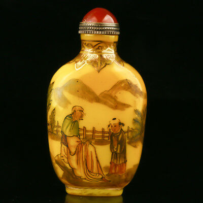 Chinese Exquisite Glaze Hand Drawed Old Man & Child Snuff Bottle W Qianlong Mark