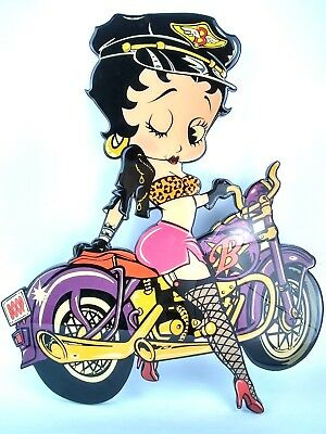 Betty Boop Large Wooden Motorcycle Wall Sign 1992 Gallery Daytona Beach Fl 25x20