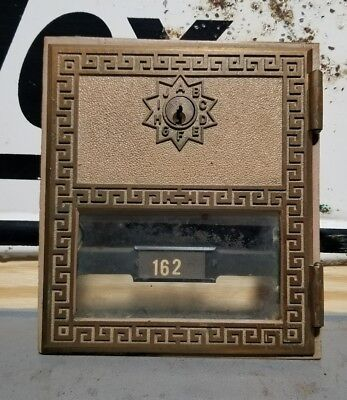 "Vintage Large Brass Post Office Box Door -  Size 6"" x 5 1/2"" #162"
