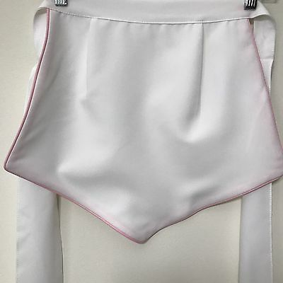 Apron Short Demi Cocktail Server Waitress Bakery White with Pink Edge