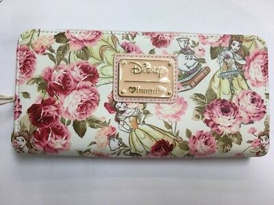 Loungefly Disney Beauty And The Beast Belle And Roses Zipper Wallet