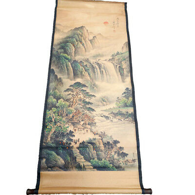 Chinese Hanging Draw HandPainted Tree Mountain River Calligraphy Scroll Painting