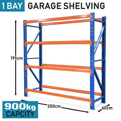 2m Warehouse Metal Racking Storage Garage Steel Shelving 900kg Shelves