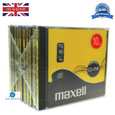 Maxell New CD-RW 700 MB (4x) 80 Min Compact Disc Re-Writable Jewel Case HQ