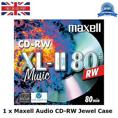 Maxell Audio CD-RW Jewel Case Re-Writable Recordable Blank Music 80 Min Disc HQ