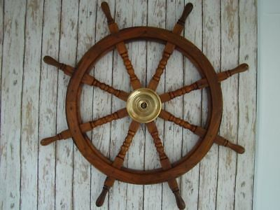 "36"" Brass & Wood Ship Wheel Nautical VINTAGE Decor Steering Boat Replica Style"