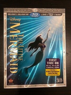 Disney's The Little Mermaid (Blu-ray 2D/3D/DVD/Digital) with RARE SLIPCOVER!!