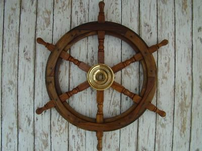 "Nautical Decor Steering Boat 24"" Brass & Wood Ship Wheel Replica Vintage Style"