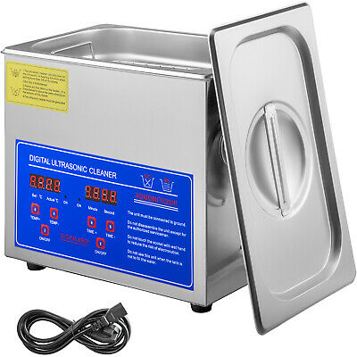 New Stainless Steel 3 Liter Industry Heated Ultrasonic Cleaner W/Heater Timer