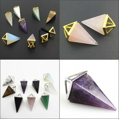 Natural Gemstones Pyramid Pointed Reiki Chakra Silver Gold Pendant for Necklace