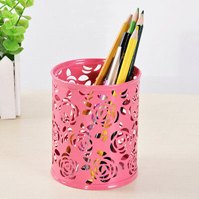 1pc Rose Flower Hollow Mental Pen Holder Office Student Stationery Pencil Case