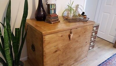 Antique Victorian Pine Blanket Chest / Old Trunk / Coffee Table / Wooden Box