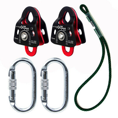 Block and Tackle Hardware 40kN Micro Double Pulley 22kN Carabiner with Prusik