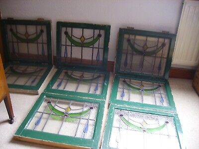 "Set of 8 Leaded light windows with coloured patterned glass 20"" W x 19"" H + odd1"